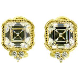 Judith Ripka Diamonique Asscher-Cut Stud Earrings